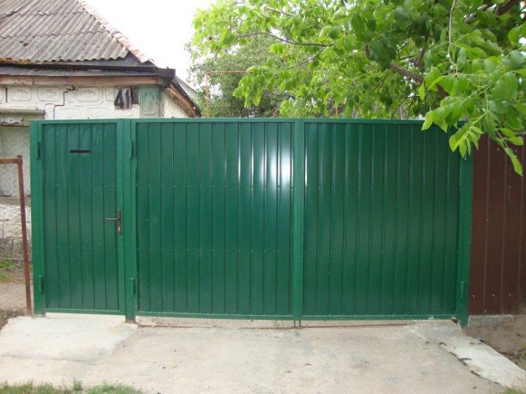картинки ворота и калитка из профнастила в частном сельском доме елку оставляют